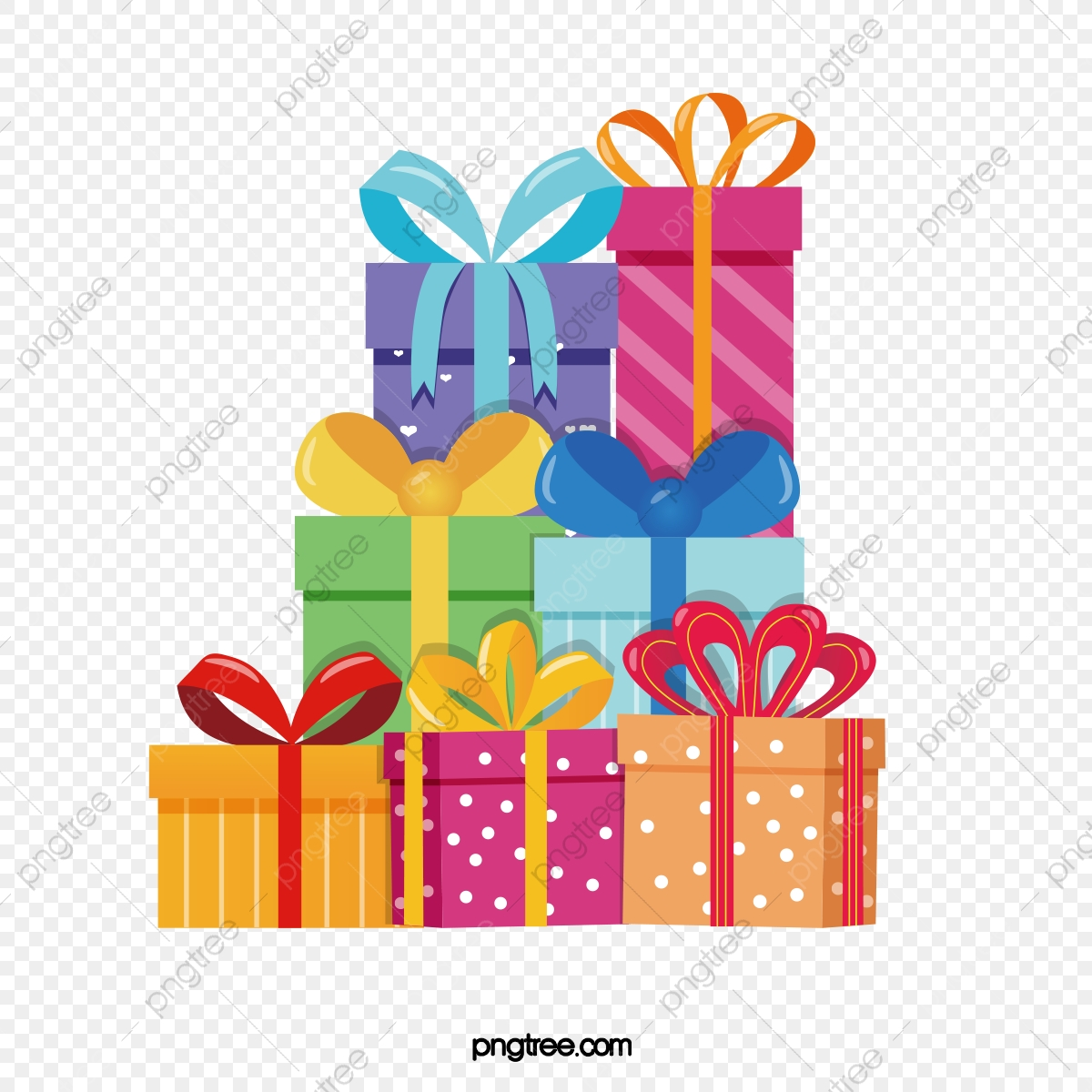 Piles Of Colorful Birthday Gifts Ribbon Color A Birthday Present Png And Vector With Transparent Background For Free Download