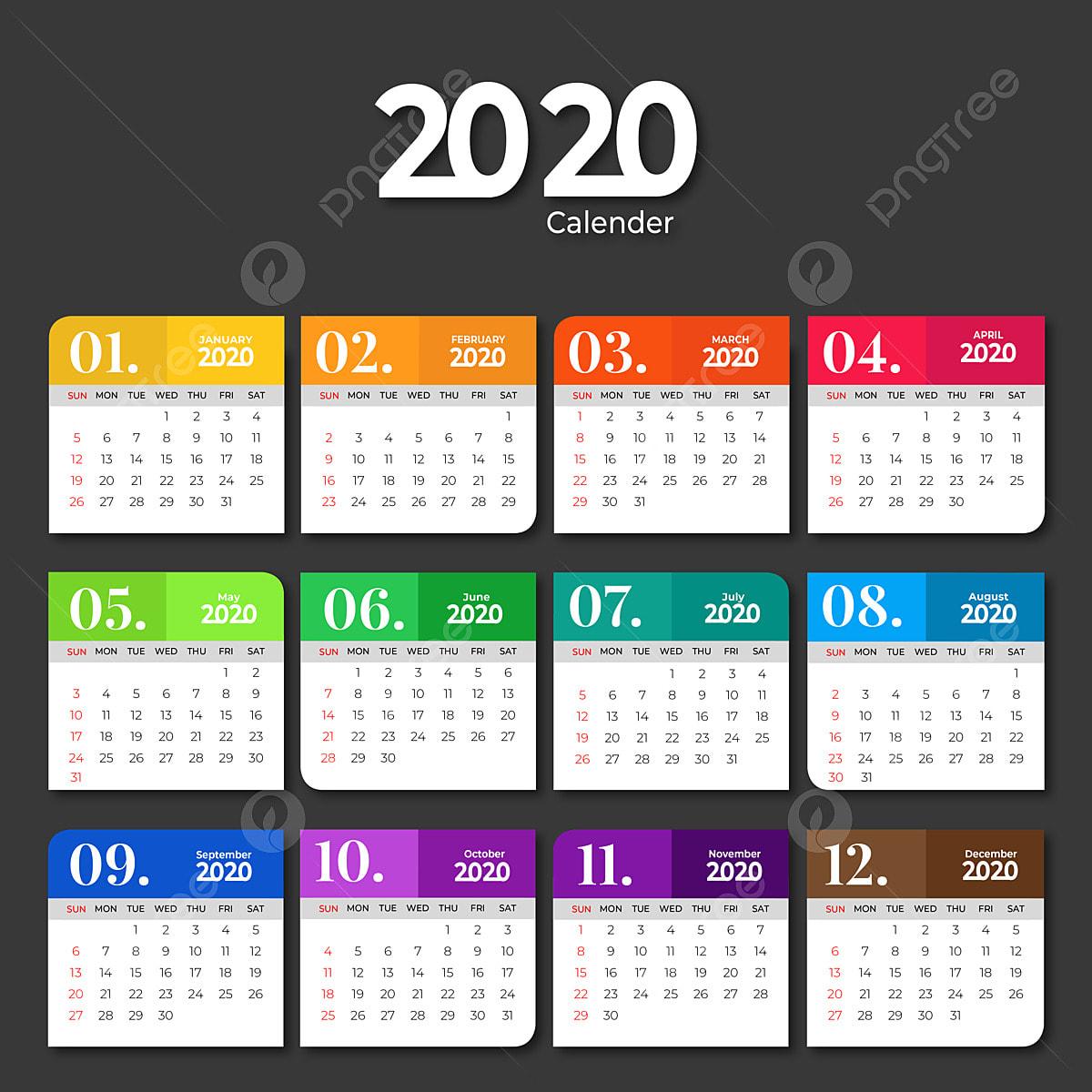 Calendrier 2020 Avec Photos.Modele De Calendrier 2020 Avec Couleurs Unies Modele De