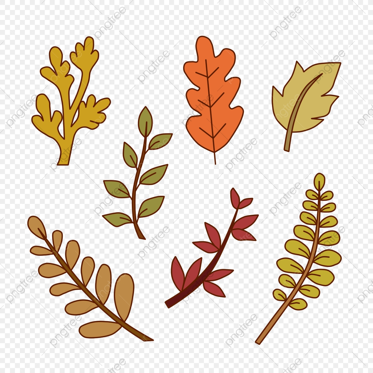 Autumn Leaves Icon Set In Hand Drawn Style Autumn Season Fall Png Transparent Clipart Image And Psd File For Free Download
