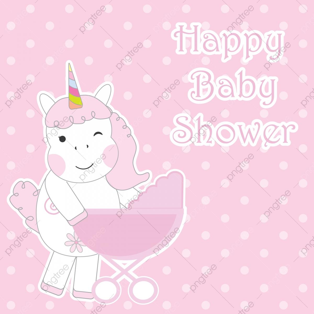 Tarjeta De Baby Shower Con Lindos Unicornios Trae Carrito De