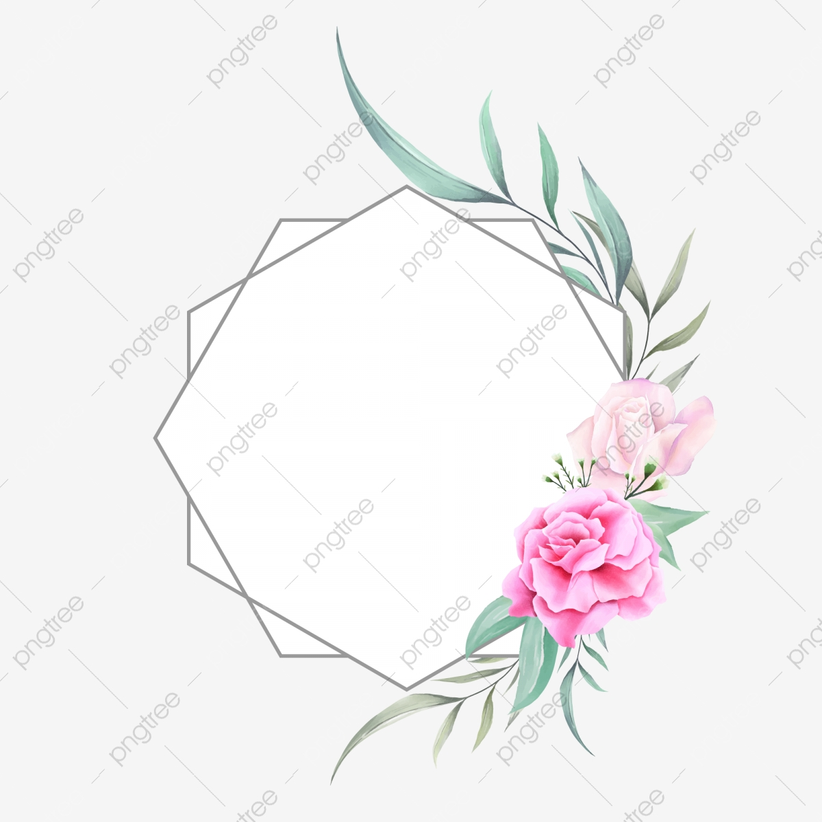 Beautiful Minimalist Watercolor Floral Frame Of Roses And Wild ...