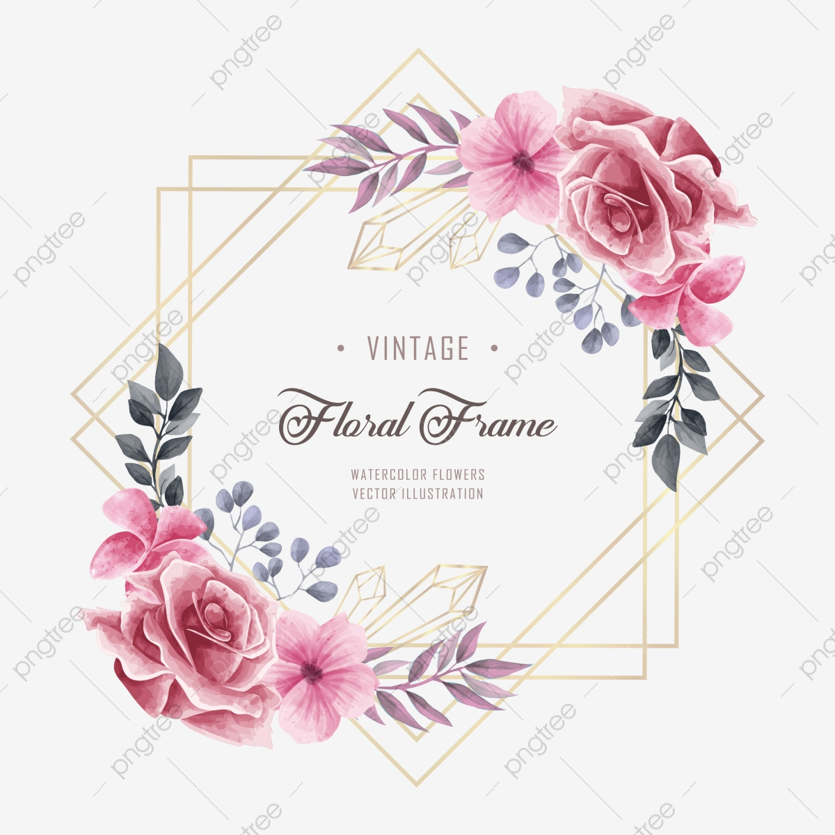 Beautiful Watercolor Floral Flower Wedding Frame Background