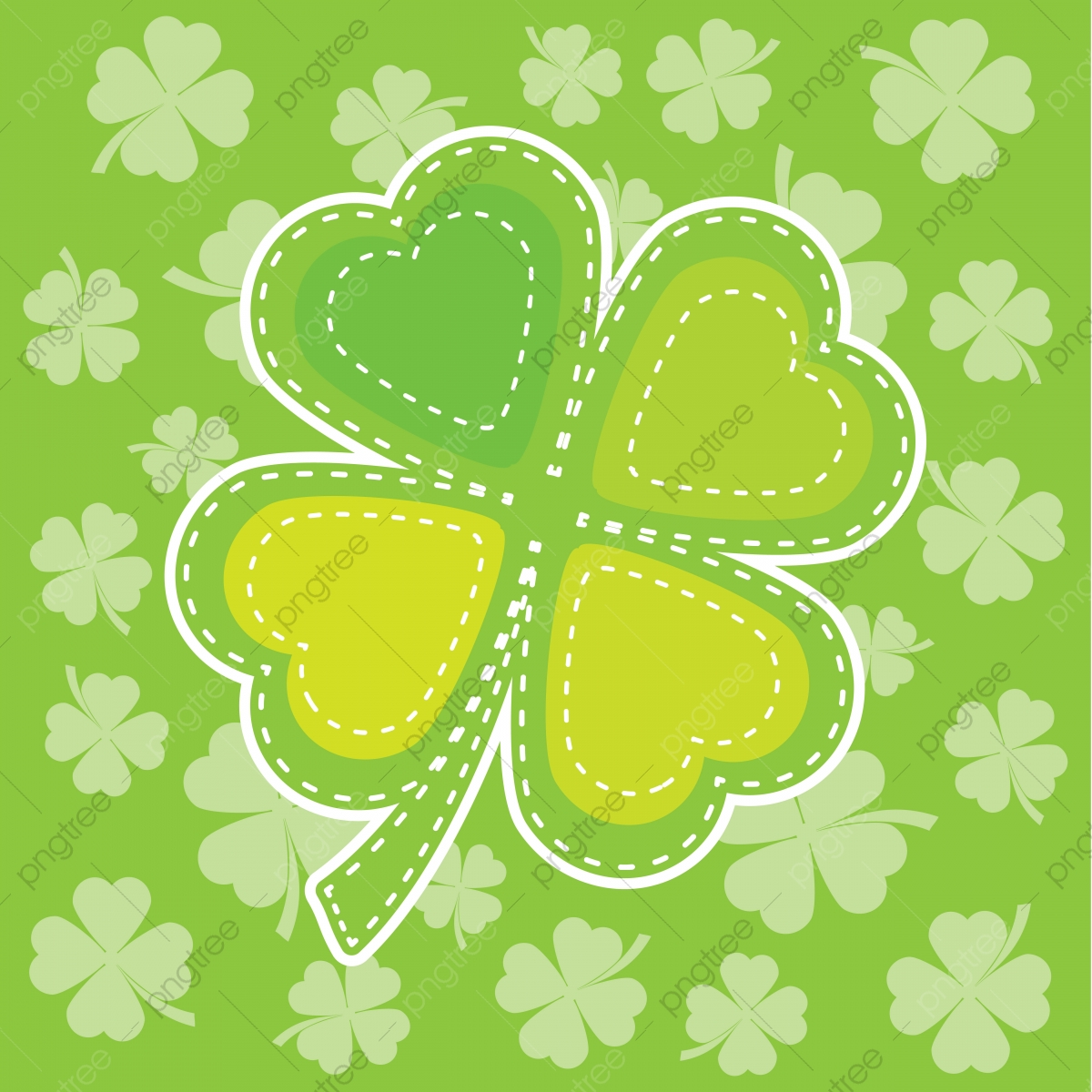 Colorful Shamrock Leaves For St Patricks Day Greeting Card
