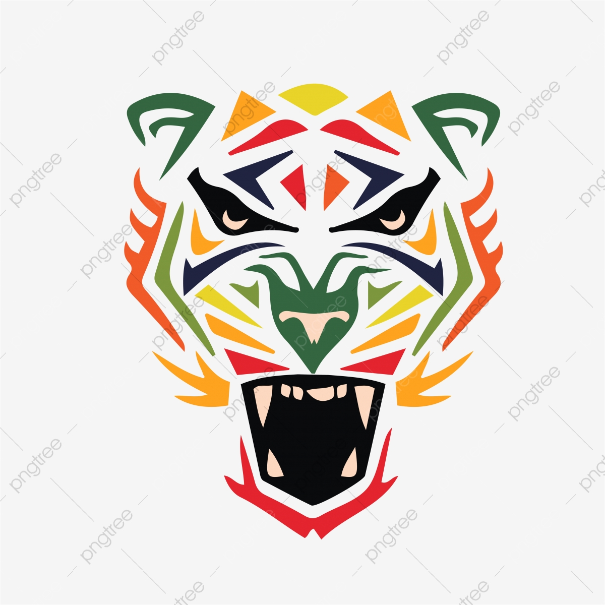 Mewarnai Harimau Wajah Reka Bentuk Template Latar Belakang