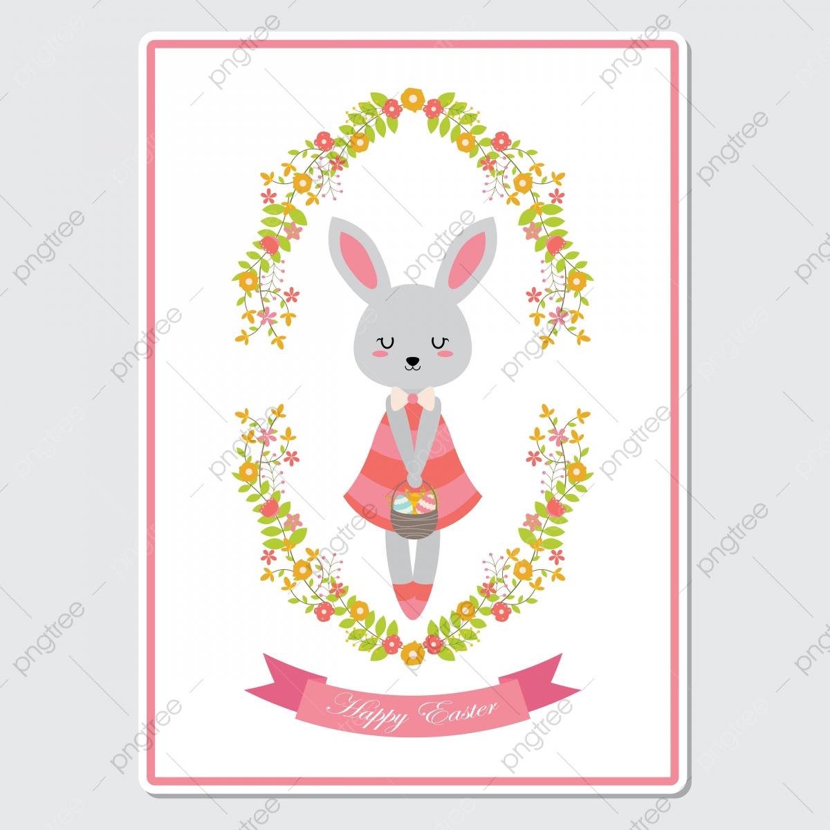 Y Tarjeta De Saludo La Adorable Conejita En Un Dibujo