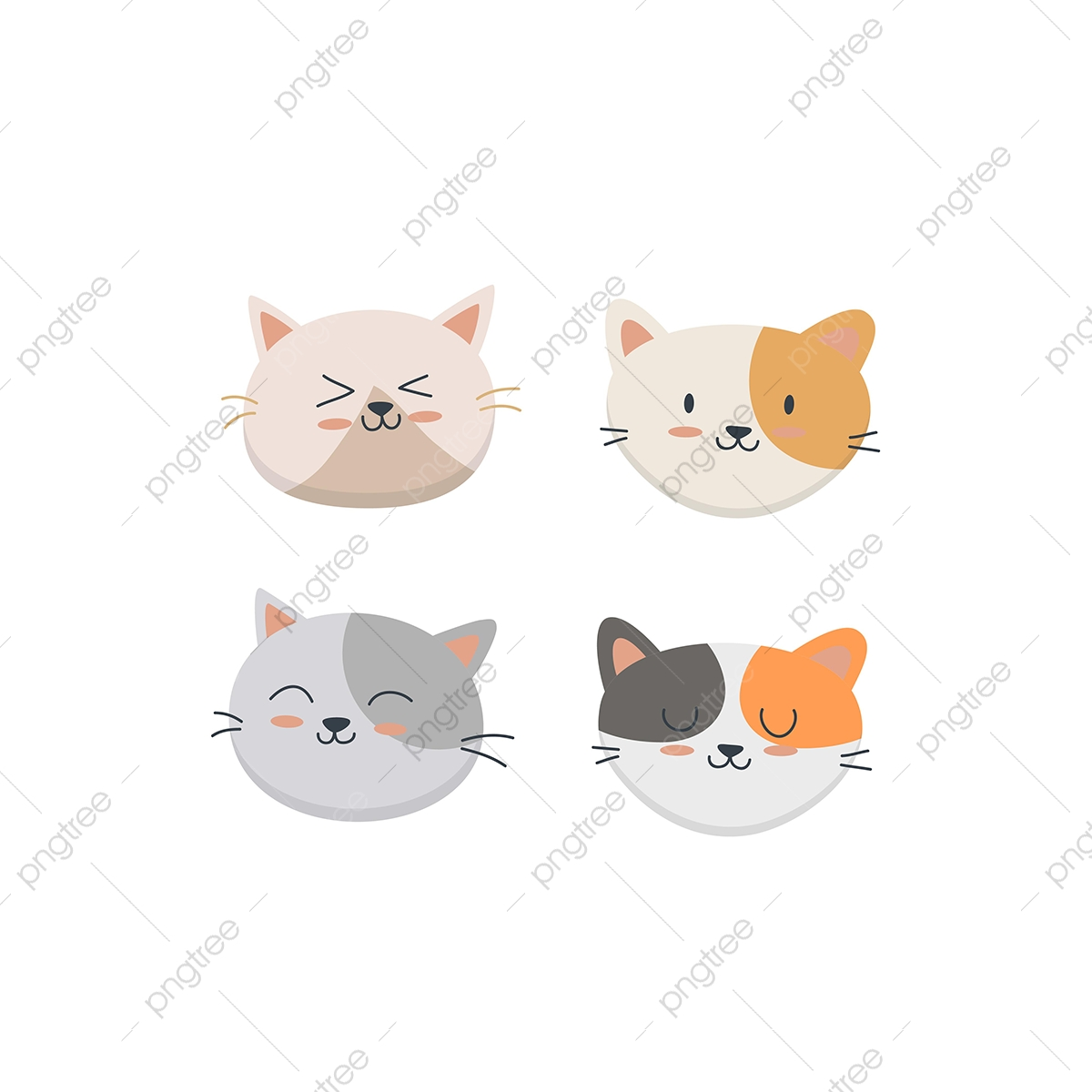 Cute Cat Face Set Collection Cat Clipart Pet Funny Png And Vector With Transparent Background For Free Download