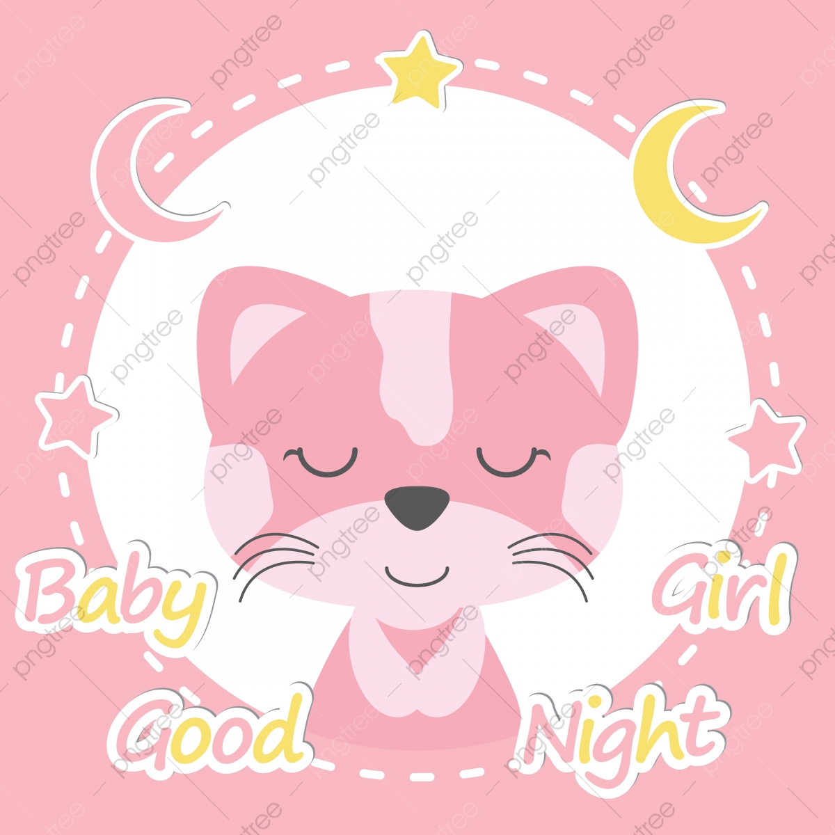 Cute Cat On Pink Frame Cartoon Illustration For Baby Shower Invitation Card Design Wallpaper And Postcard Adorable Card Cartoon Png And Vector With Transparent Background For Free Download