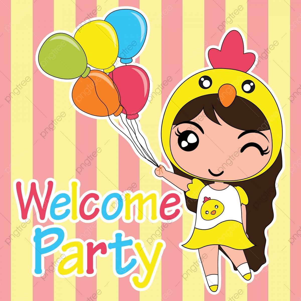 Cute Chick Girl Brings Balloons Cartoon Illustration For