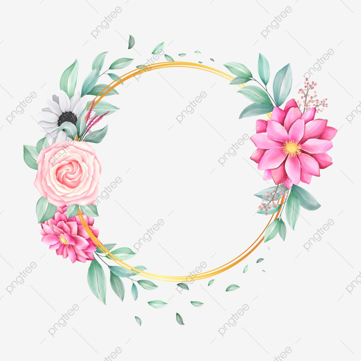 Cute Floral Frame With Golden Circle And Watercolor Flowers