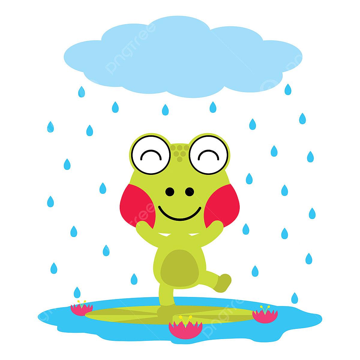 Katak Lucu Bermain Pada Ilustrasi Kartun Hujan Untuk Kanak