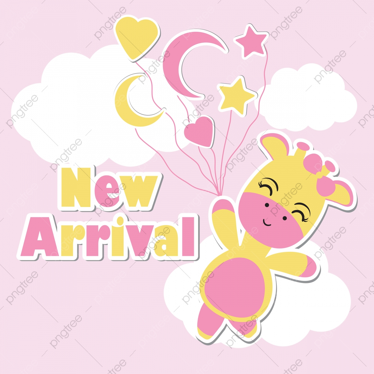 Cute Giraffe Fly With Balloons On Background Cartoon