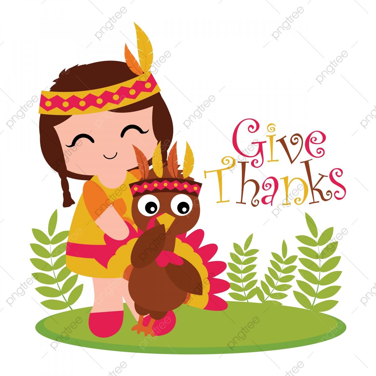 Cute Indian Girl And Turkey On The Garden Cartoon
