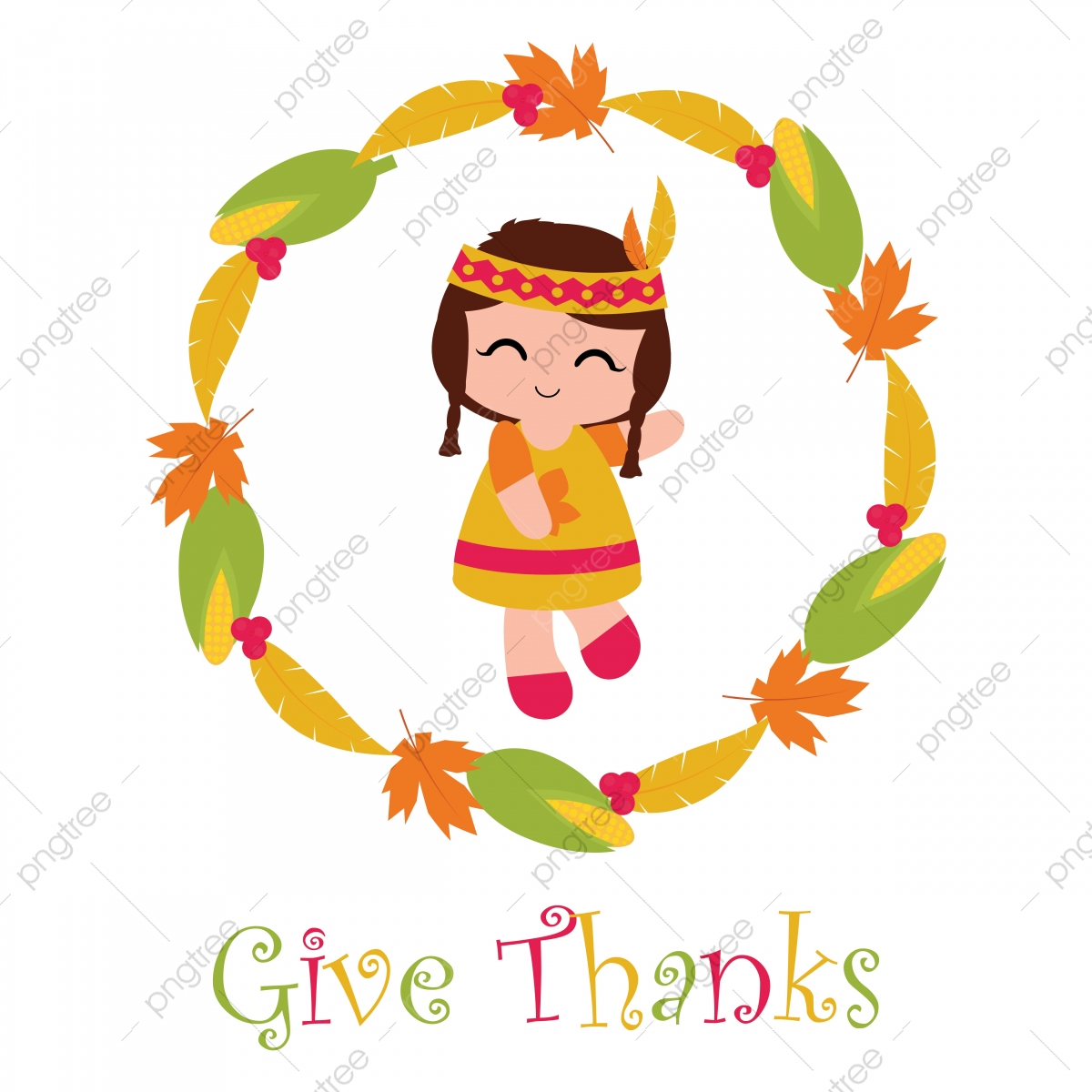 Cute Indian Girl In Corn And Maple Leaves Wreath Cartoon