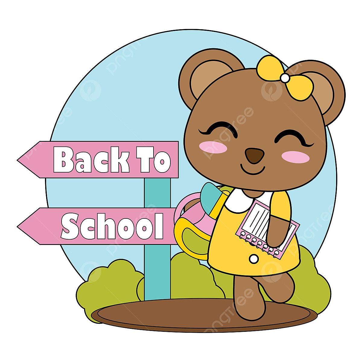 Gambar Gadis Beruang Kecil Comel Membawa Buku Dan Kembali Ke Sekolah Contoh Ilustrasi Kartun Untuk Reka Bentuk Grafik T Shirt Kanak Kanak Latar Belakang Dan Dinding Comel Seni Png Dan Vektor Untuk