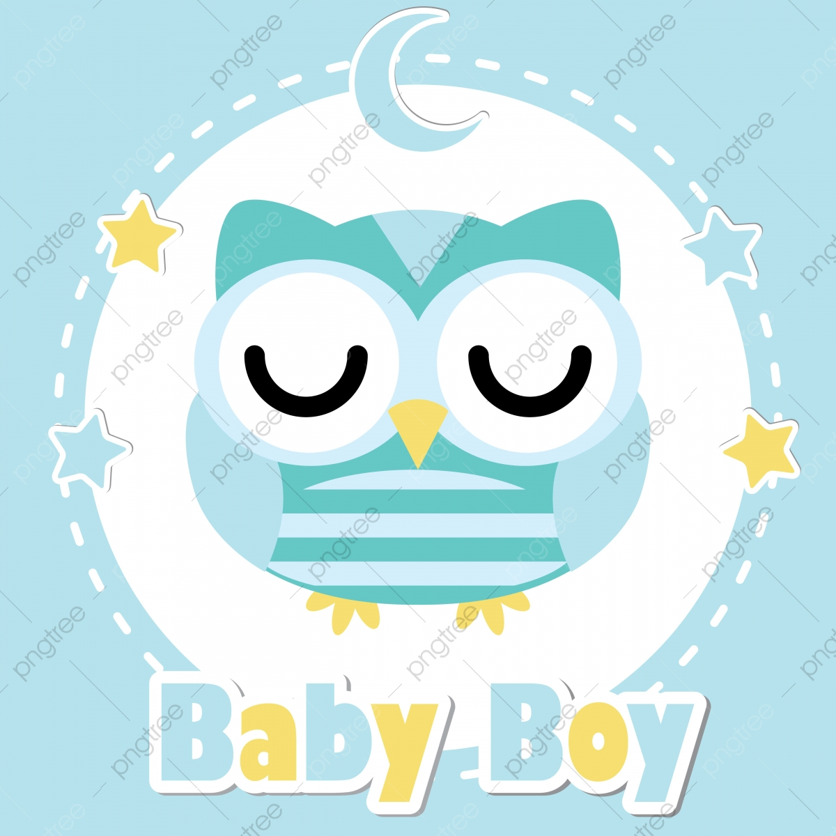 Cute Owl Boy On Blue Moon And Frame Cartoon Illustration For Baby Shower Invitation Card Design Postcard And Wallpaper Adorable Card Png And Vector With Transparent Background For Free Download