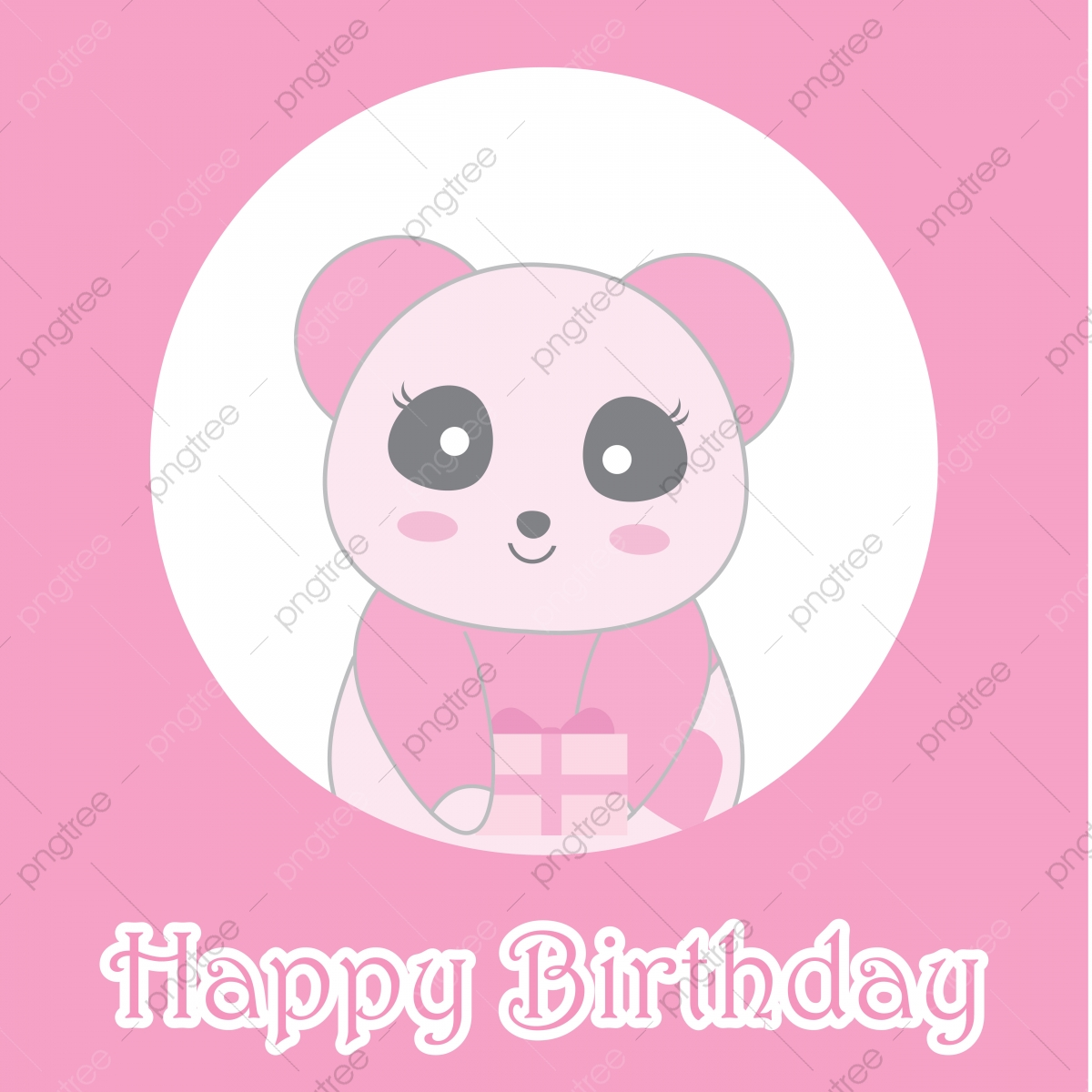 Cute Pink Panda On Circle Frame Cartoon Illustration For