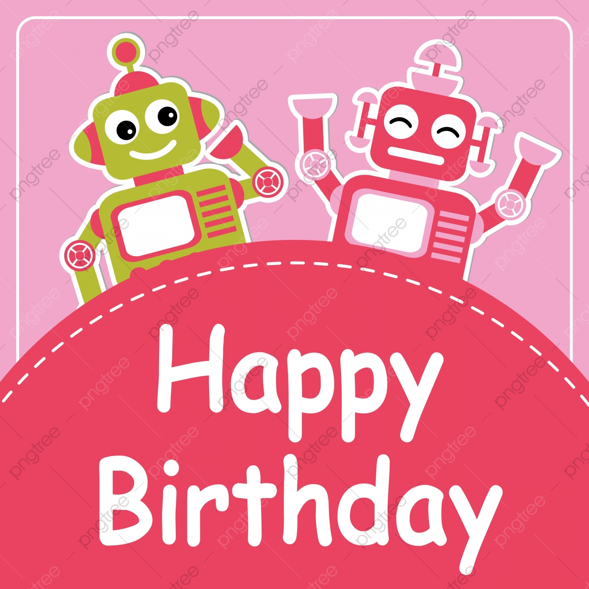 Cute Two Robots On Pink Background Cartoon Illustration For