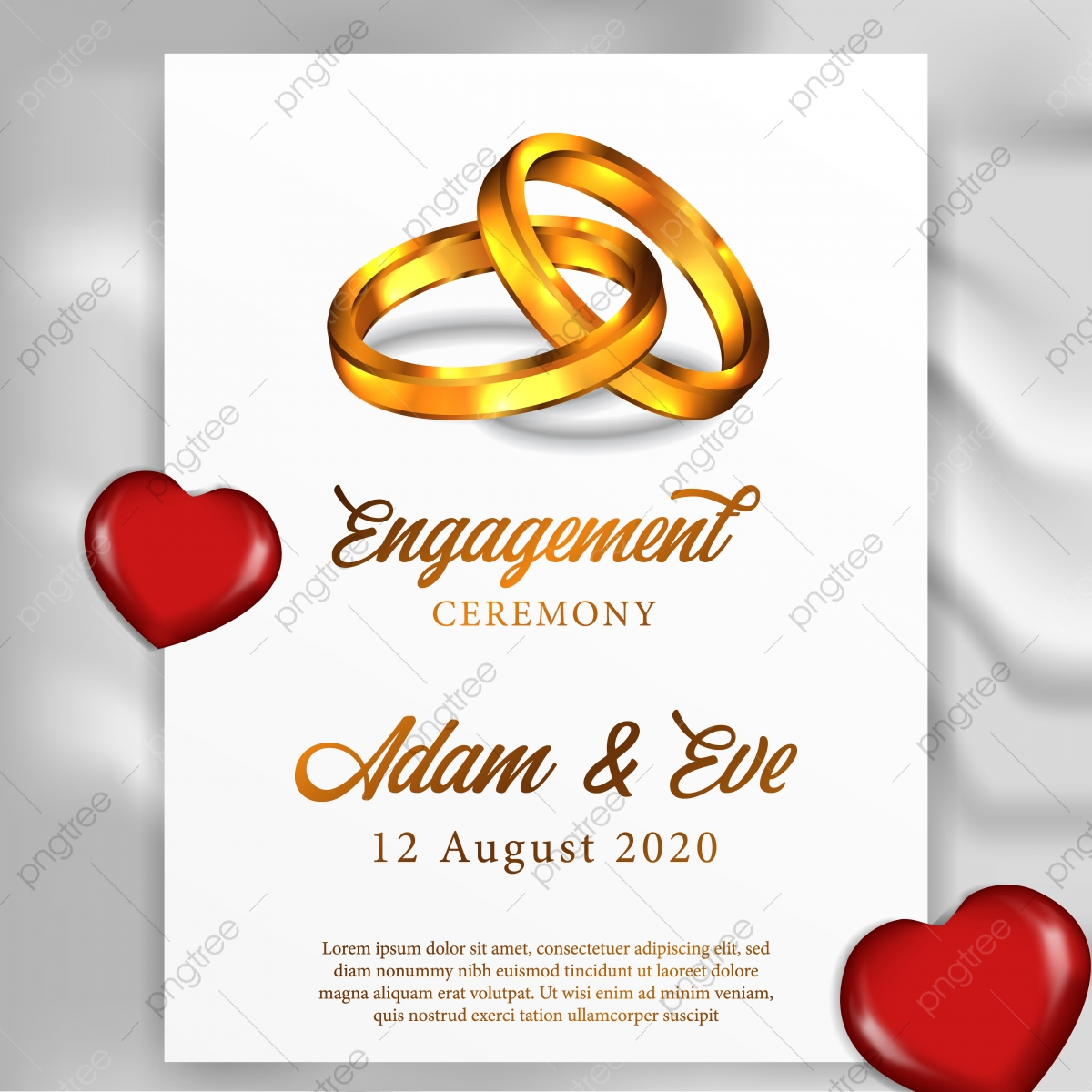3d Couple Golden Ring For Poster Template Engagement Ceremony