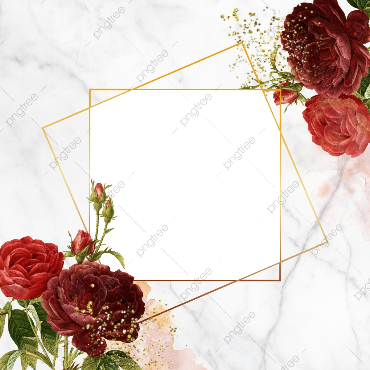 Floral Geometric Frame Rose Frame Blooming Png Transparent Clipart Image And Psd File For Free Download