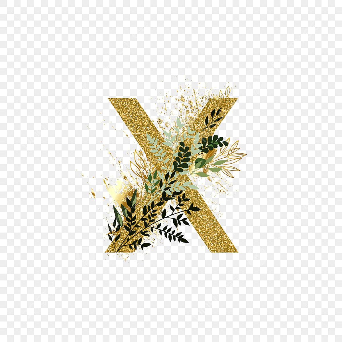 Golden Alphabet Set Letter X Word Art Letter Creative Png