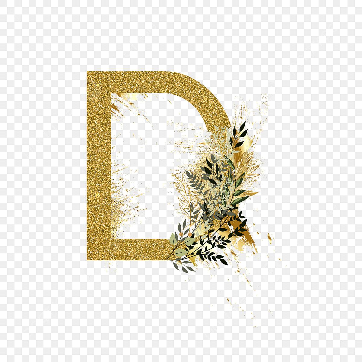 Golden Glitter Alphabet Set Letter D Word Art Letter