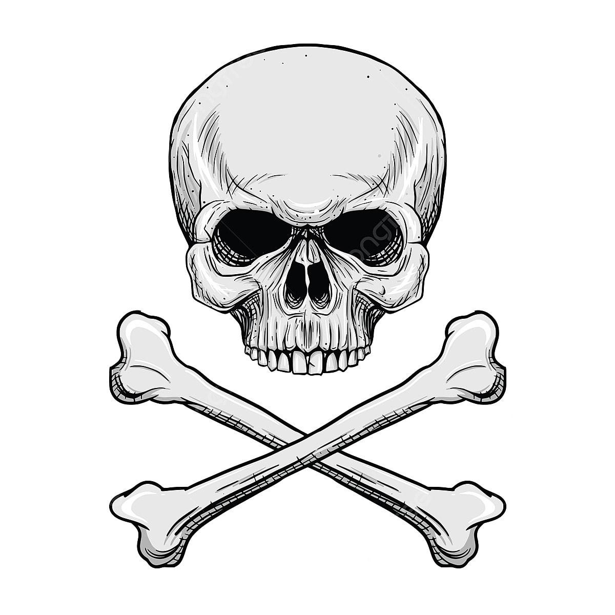 Tengkorak Kepala Dengan Tulang Silang Di Latar Belakang