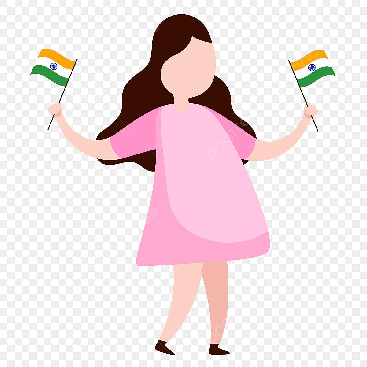 Gambar Gadis Kecil Memegang Bendera India Meraikan Hari ...