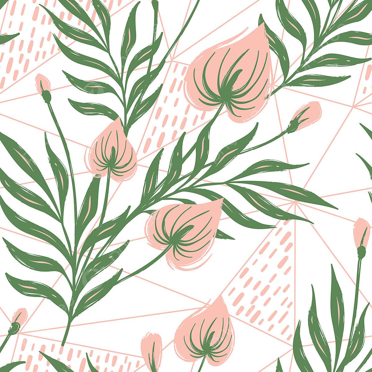 Patrón Transparente Con Flores Tropicales Y Hojas Mano Dibujado ...