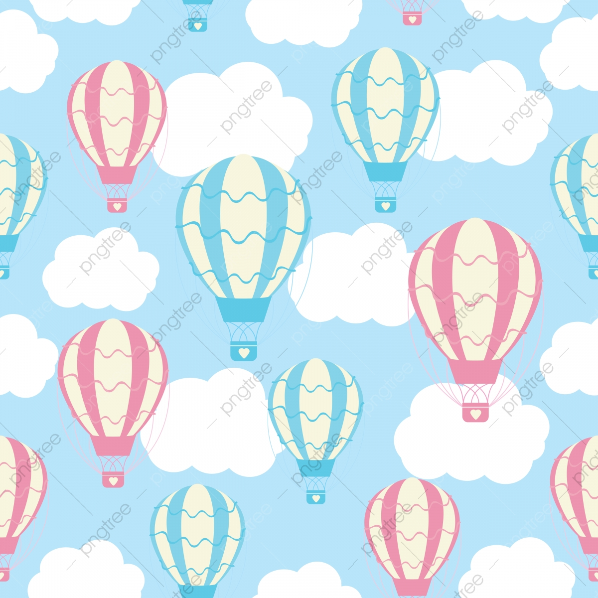 Shower Seamless Pattern With Cute Hot Air Balloons On Blue