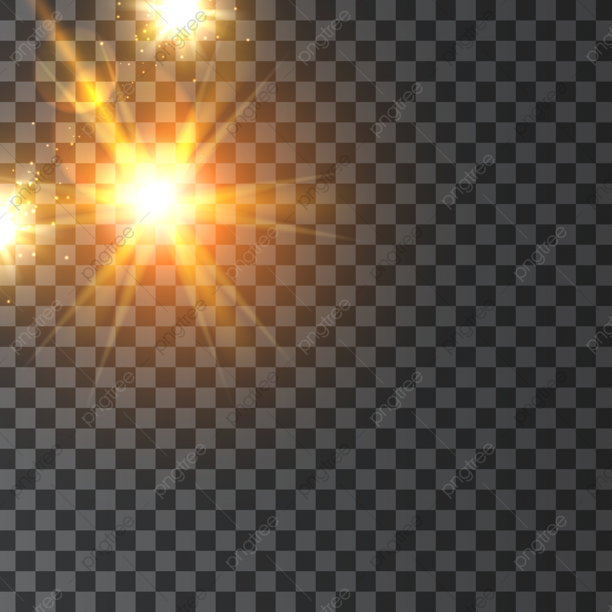 أشعة الشمس المتلألئة خلفية شفافة ضوء أشعة المتجه Png والمتجهات