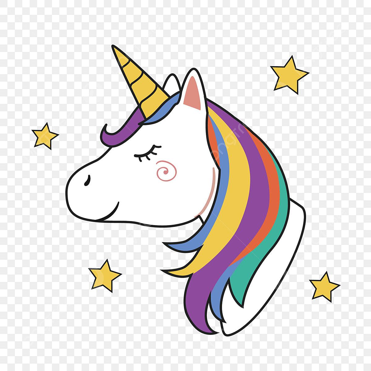 Unicorn Head With Rainbow Mane And Horn, Unicorn, Head ...