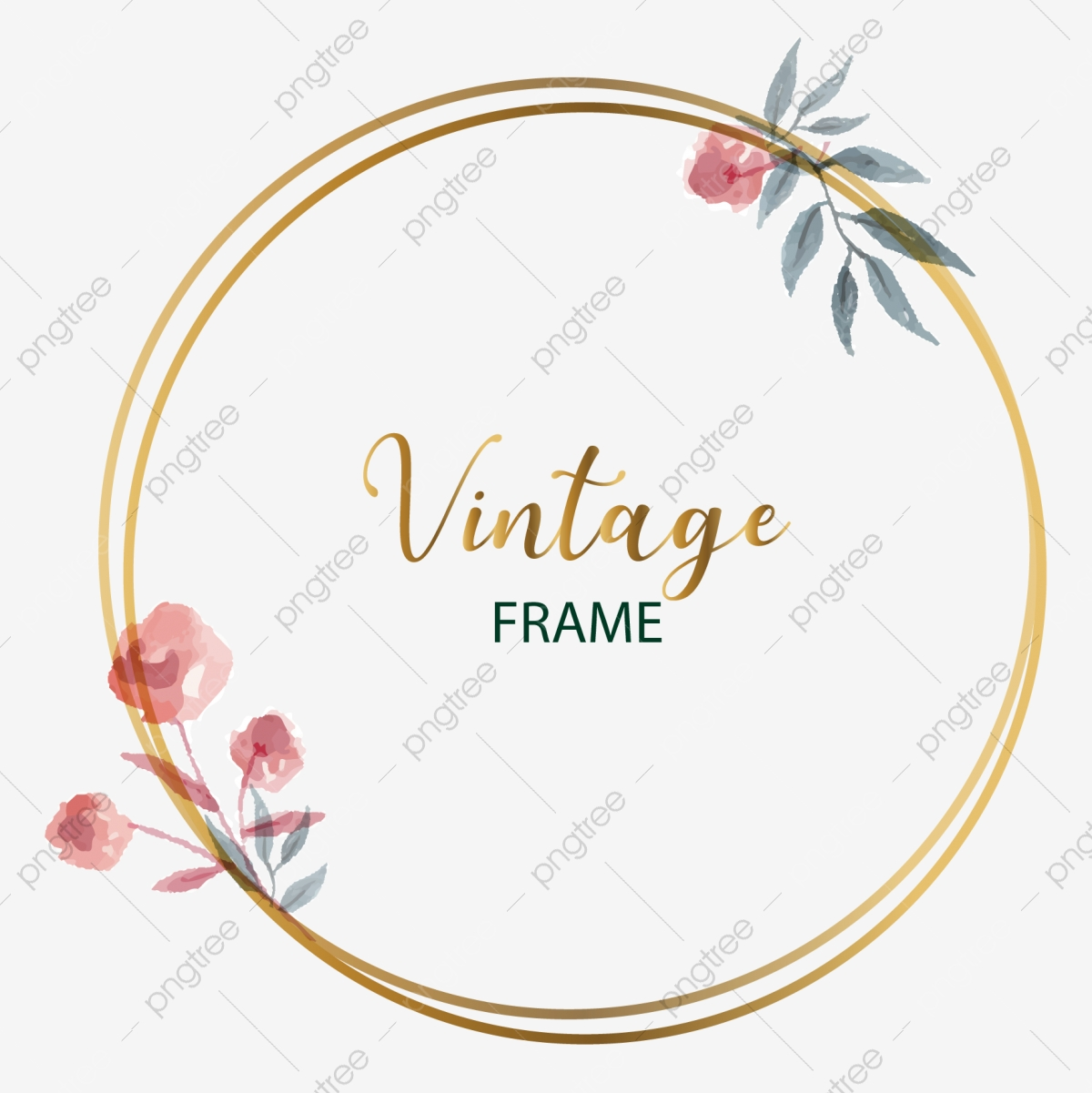 Vintage Circle Golden Frame For Wedding Invitation Card