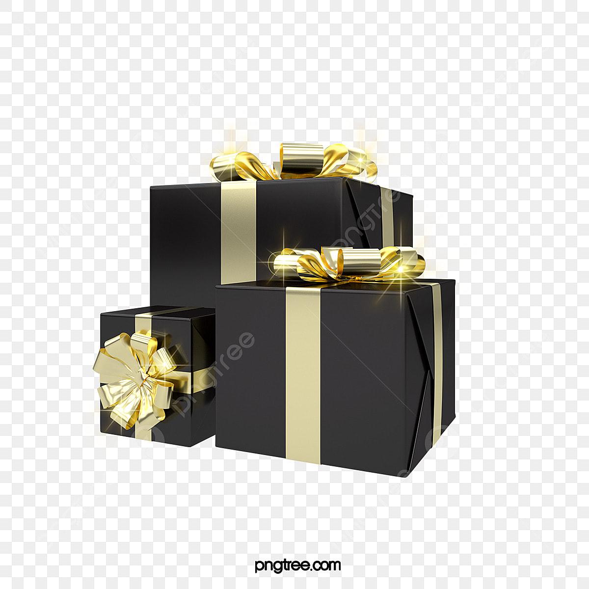 3d Christmas Black Gold Celebration Gift Box Festival