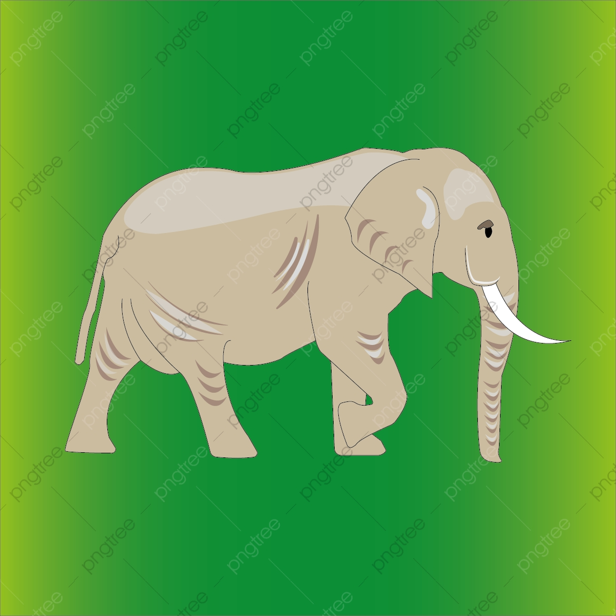 African Elephant Cartoon Realistic Style Png And Eps