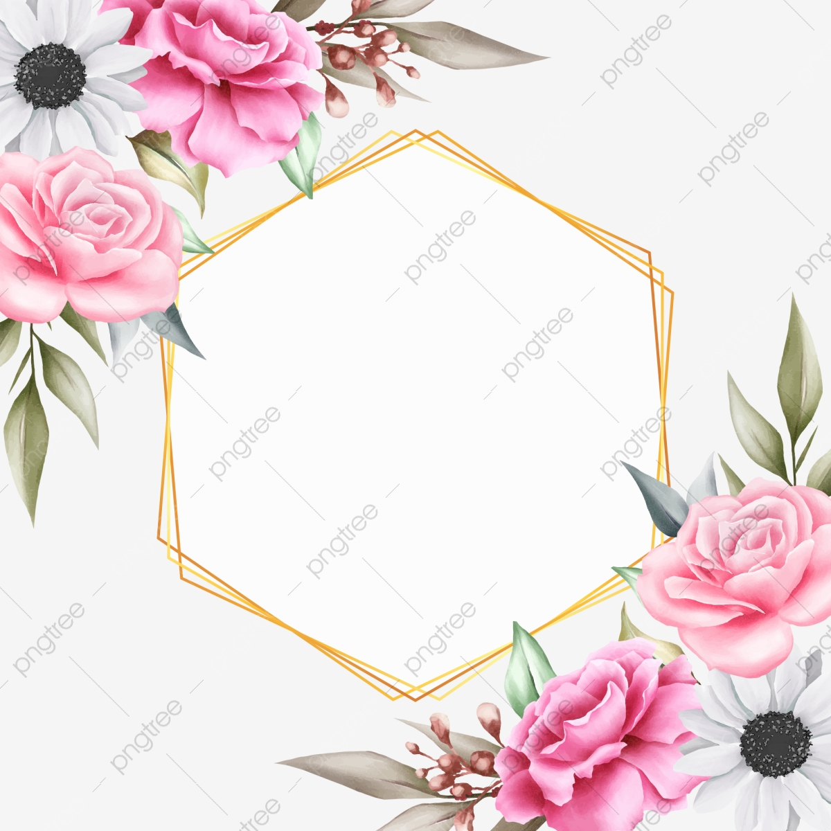 Beautiful Floral Background With Geometric For Invitation Cards