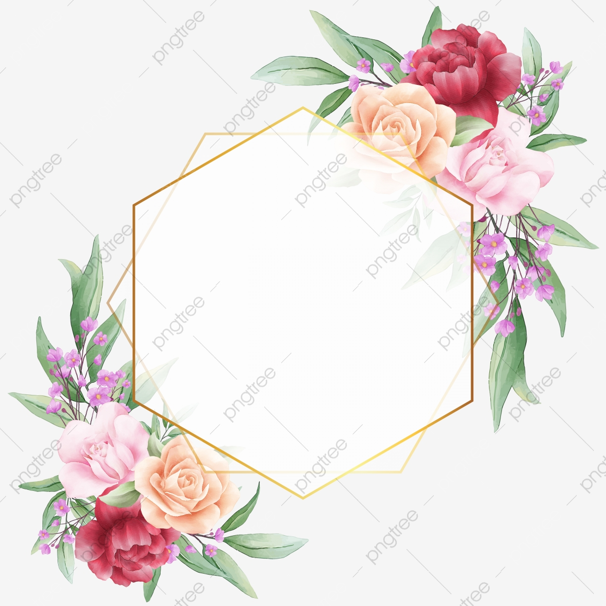 Beautiful Geometric Frame With Watercolor Flowers Border Border Clipart Flowers Wedding Png And Vector With Transparent Background For Free Download