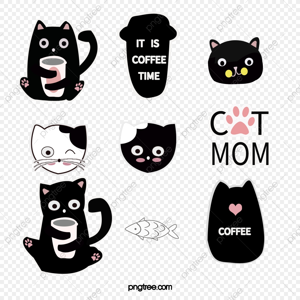 Kartun Tangan Melukis Pelekat Emoji Kucing Lucu El