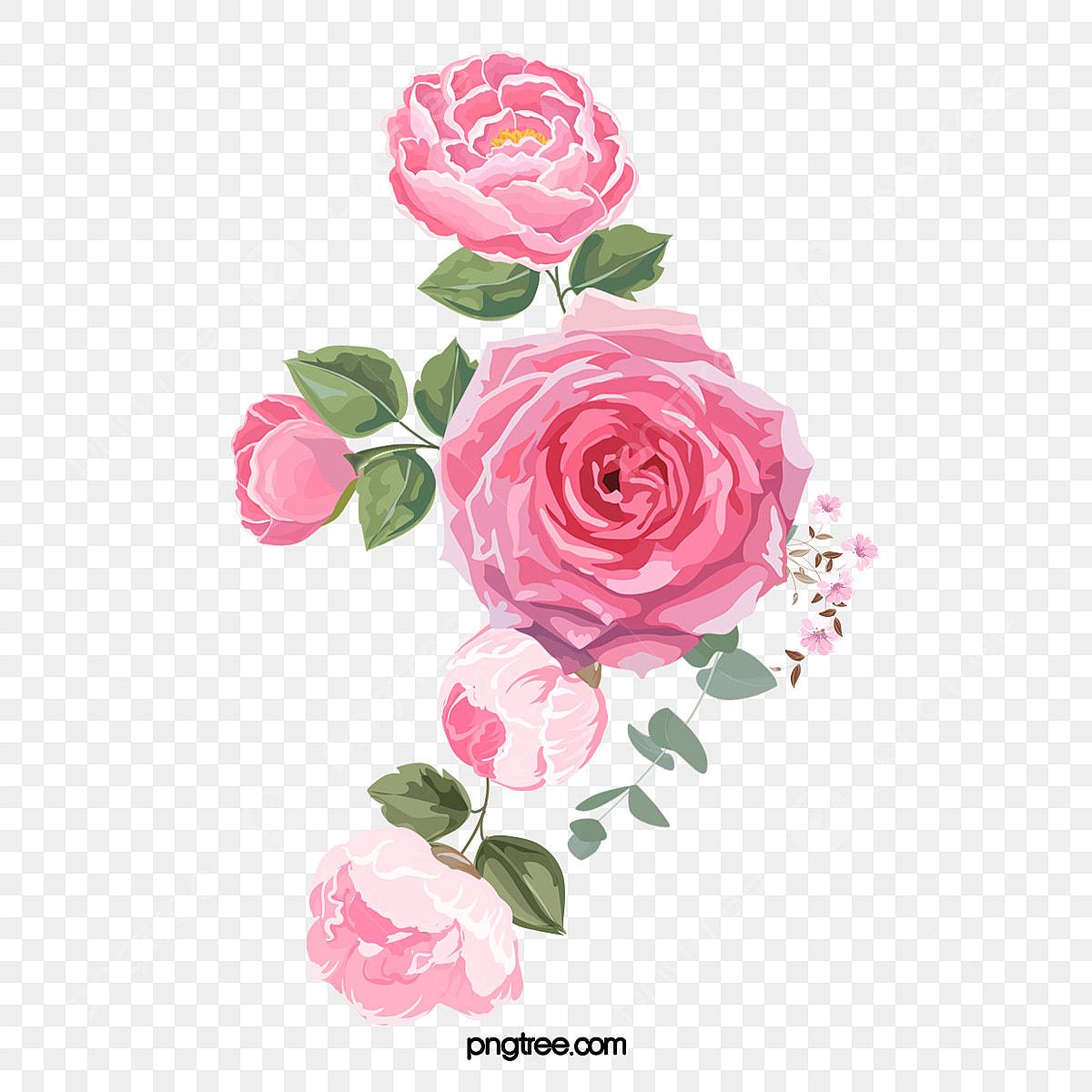 Desenhos Animados Mao Desenhada Rosa Flores Ilustracao Cor De