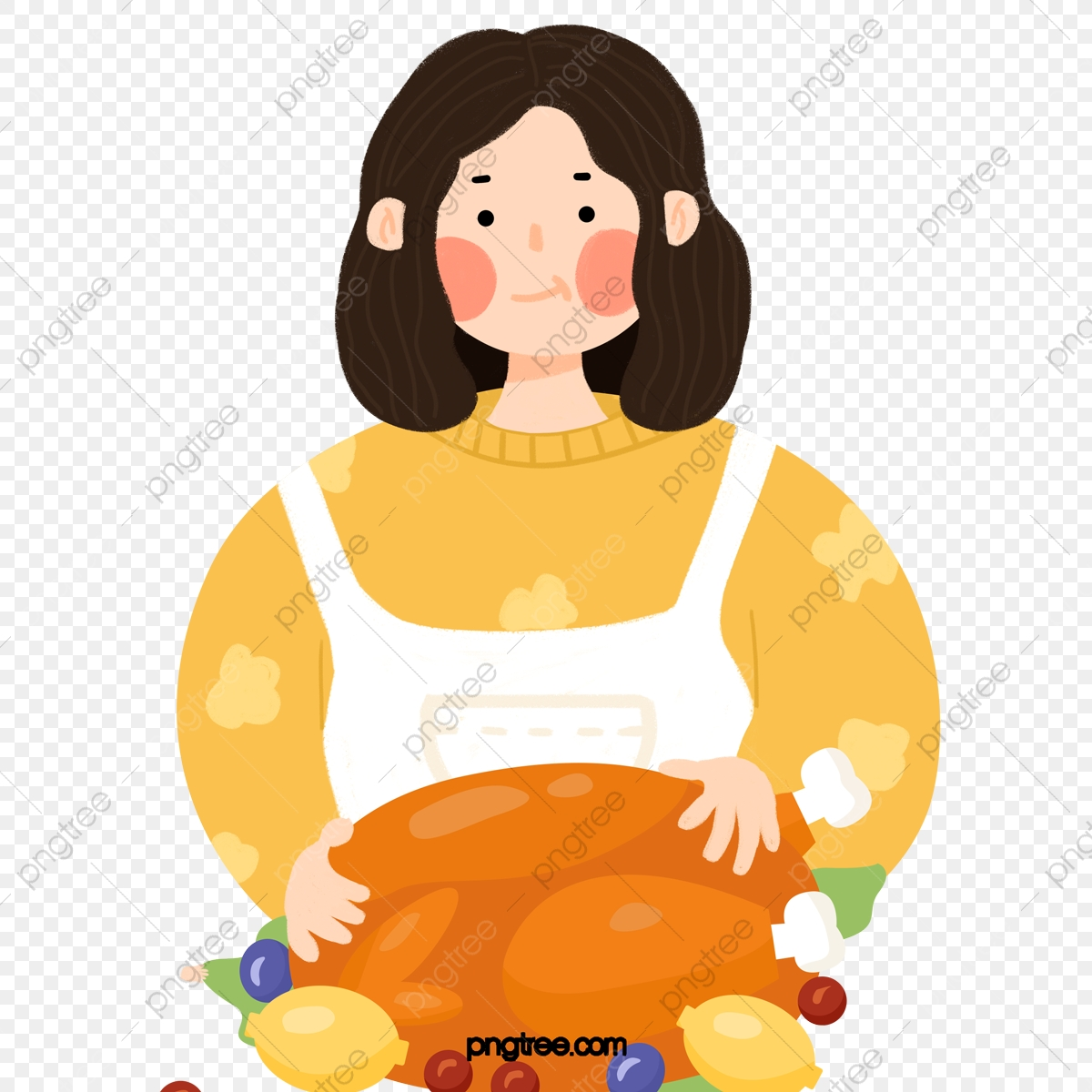 Cartoon Housewife Holding A Plate Of Turkey Housewife Female Character Png Transparent Clipart Image And Psd File For Free Download