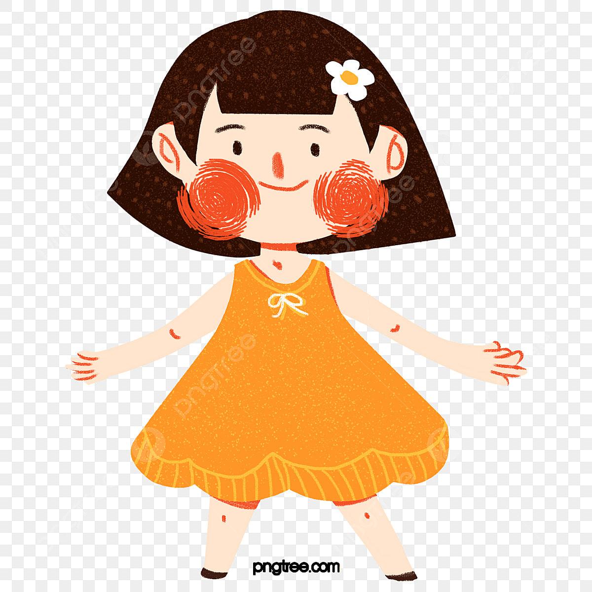 Gambar Kartun Wanita Muslimah Tersenyum Gambar Kartun Gadis Kecil Dalam Pakaian Oren Gadis Rambut Pendek Tersenyum Png Dan Psd Untuk Muat Turun Percuma