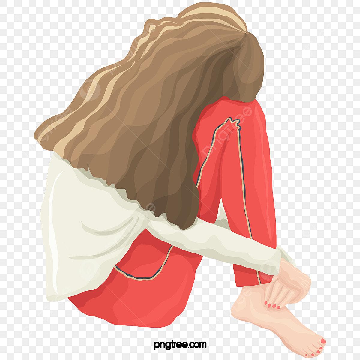 Gambar Kartun Wanita Rambut Panjang Gambar Kartun Gadis Berambut Panjang Memegang Lutut Gadis Rambut Panjang Memegang Lutut Png Dan Psd Untuk Muat Turun Percuma