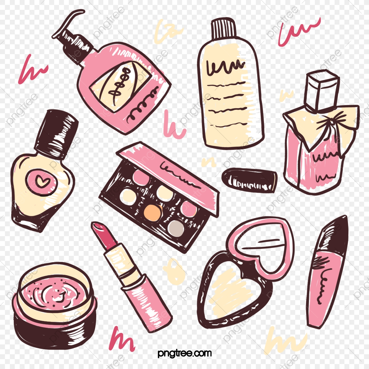 Cartoon Thick Line Hand Drawn Style Skin Care Beauty Set Illustration Perfume Makeup Mirror Element Cosmetics Cosmetic Eye Shadow Box Png Transparent Clipart Image And Psd File For Free Download