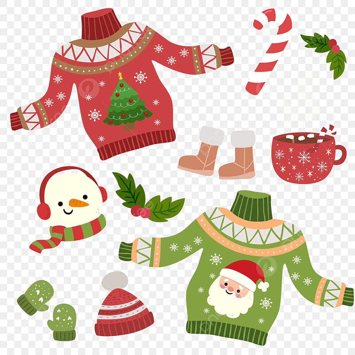 Cartoon Winter Christmas Color Matching Sweater, Cartoon