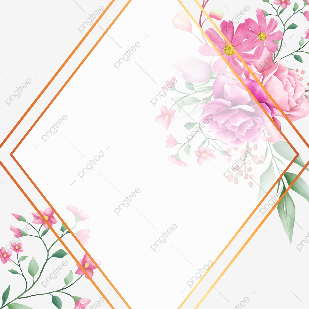 Creative Wedding Frame With Watercolor Floral Background Card