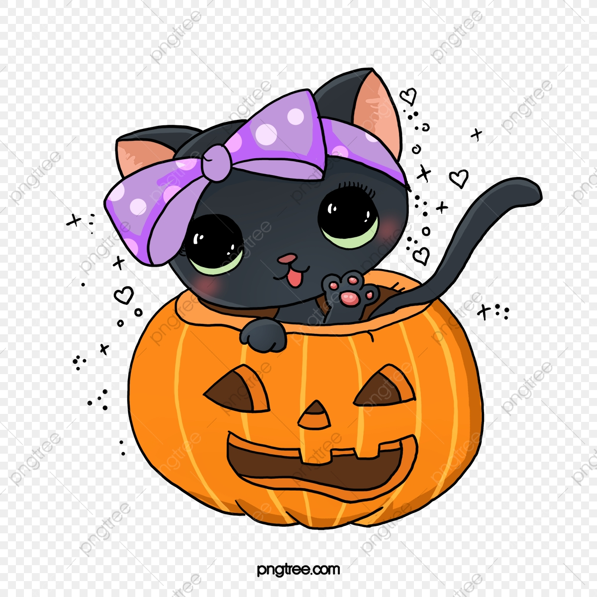 Cute Pictures Of Halloween.Cute Cartoon Halloween Bow Cat Cat Lovely Halloween Png Transparent Clipart Image And Psd File For Free Download