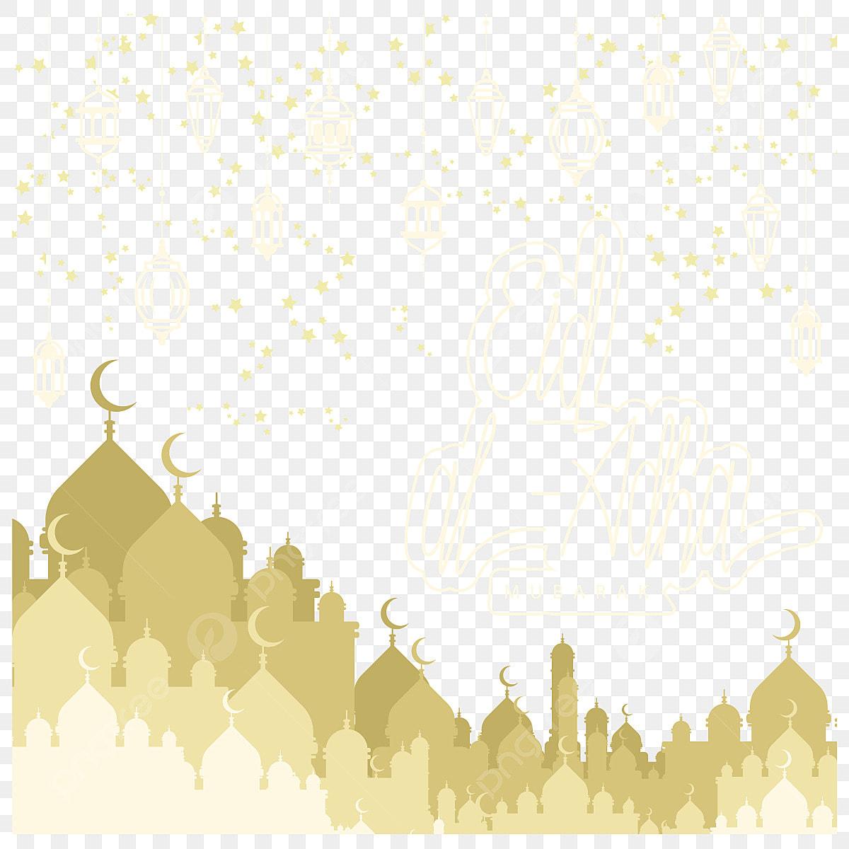 Eid Al Adha Mubarak Background Design With Mosque Eid Adha Al