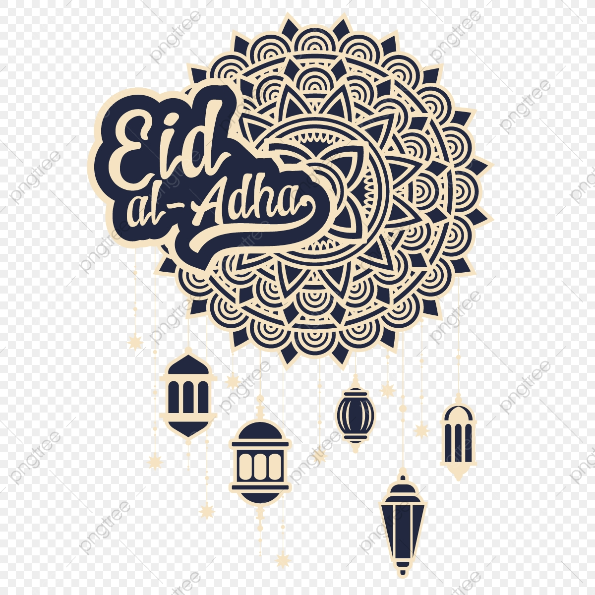 Eid Al Adha Mubarak Greeting Design Abstract Mandala With