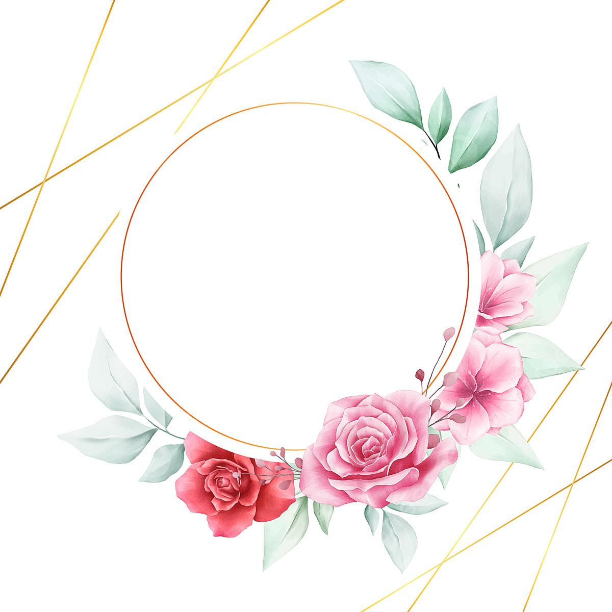 elegant watercolor flowers frame for wedding logo card