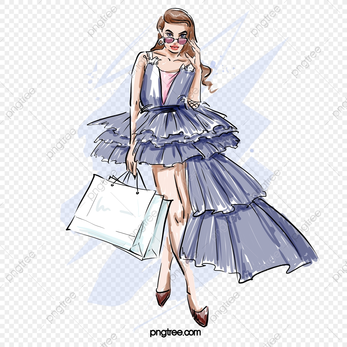 Evening Dress Fashion Fashion Shopping Cover Girl Hand Drawn Elements Latest Fashion Fashion Girl Png Transparent Clipart Image And Psd File For Free Download