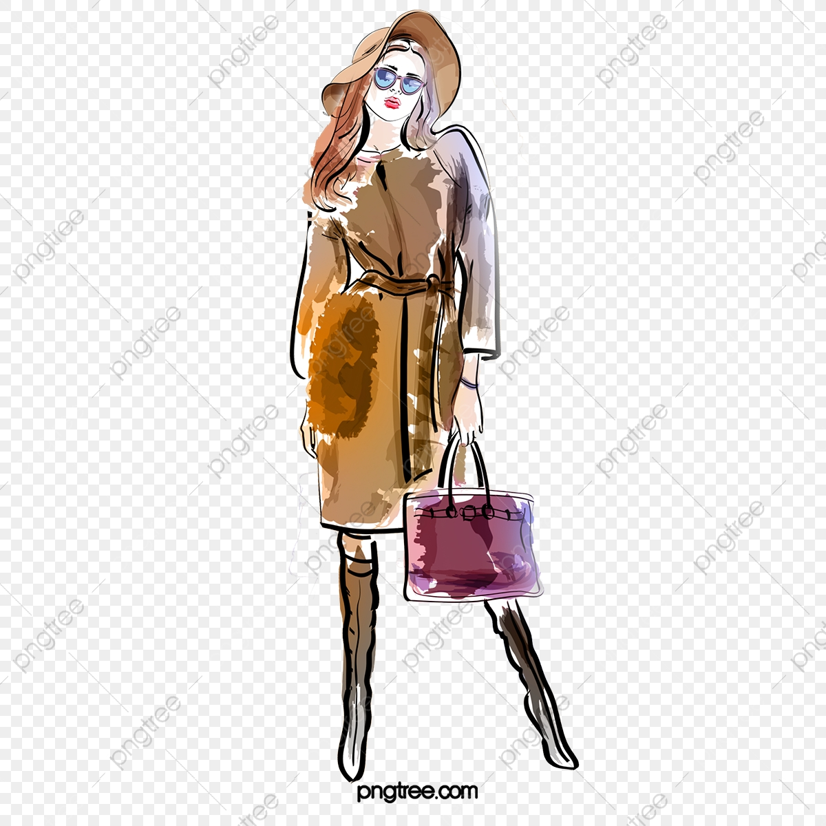 Fashion Design Fashion Girl Shopping Hand Drawn Elements Sunglasses High Heels Clothes Png Transparent Clipart Image And Psd File For Free Download